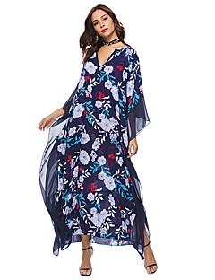 お買い得  レディースドレス-女性用 ボヘミアン バットウィングスリーブ ルーズ チュニック ドレス - プリント, フラワー パッチワーク マキシ Vネック