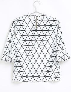 billige Bluse-V-hals Dame - Ensfarvet Geometrisk Udhulet Sødt Ferie Bluse