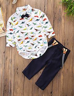 billige Tøjsæt til drenge-Drenge Tøjsæt Daglig I-byen-tøj Ensfarvet Dyretryk Tegneserie, Bomuld Polyester Forår Efterår Langærmet Afslappet Punk & gotisk Gade Hvid