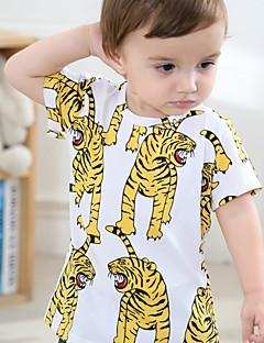 billige Overdele til drenge-Drenge T-shirt Trykt mønster, Bomuld Sommer Halvlange ærmer Normal Gul