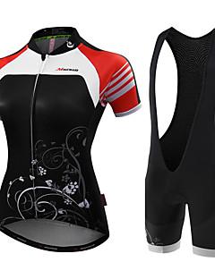 billige Sykkelklær-Malciklo Dame Kortermet Sykkeljersey med bib-shorts - Svart Svart/Hvit Blomster / botanikk Britisk Sykkel Tights Med Seler Jersey,