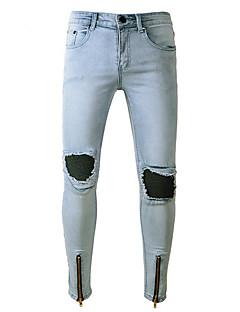 billige Herrebukser og -shorts-Herre Normal Enkel Elastisk Jeans Bukser, Mellomhøyt liv Polyester Ensfarget Vår/Vinter Sommer