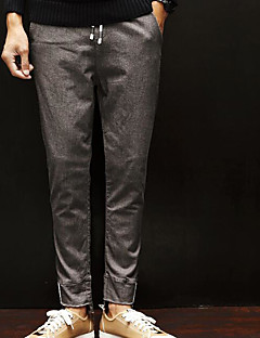 billige Herremote og klær-Herre Normal Enkel Mikroelastisk Skinny Bukser, Mellomhøyt liv Polyester Ensfarget Vinter
