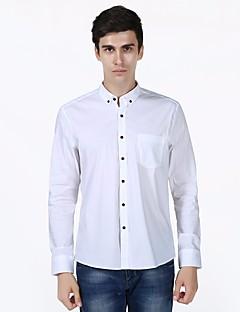 billige Herremote og klær-Bomull Langt Erme,Skjortekrage Skjorte Ensfarget Enkel Daglig