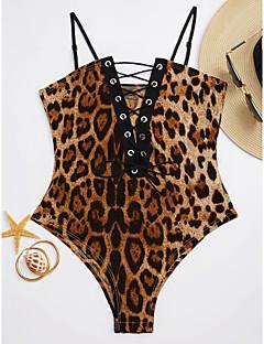 billige Bikinier og damemote 2017-Dame Stikkende halslinje En del - Trykt mønster Blondér, Cheeky Leopard
