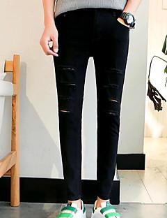 billige Herrebukser og -shorts-Herre Normal Enkel Mikroelastisk Jeans Chinos Bukser, Mellomhøyt liv Polyester Ensfarget Sommer