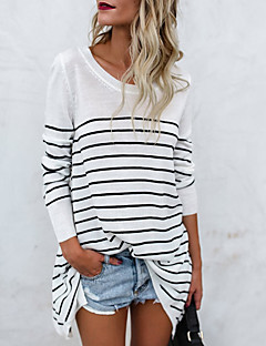 cheap -Women's Basic Cotton Loose T-shirt - Striped