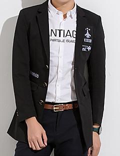 billige Herremote og klær-Akryl Polyester Store størrelser Lang Skjortekrage Blazer Ensfarget Bokstaver Vår Høst Forretning Enkel Daglig Arbeid Herre