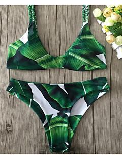 billige Bikinier og damemote 2017-Dame Blomstret Bikini Badetøy Enkel Grunnleggende Med stropper Grønn