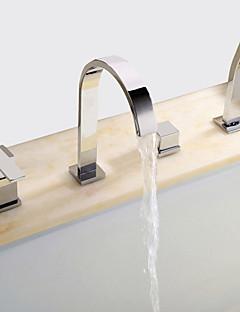 billige Romersk- bad-Moderne Romersk kar Utbredt Keramisk Ventil Fire Huller To Håndtak fire hull Krom, Badekarskran