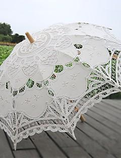 billige Bryllupsbutikken-håndlaget håndverk snøre paraply stokk rett håndtak dekorative bryllup fotografier rekvisita paraply beige