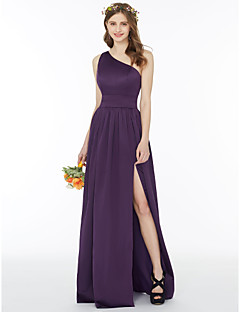 cheap Long Bridesmaid Dresses-A-Line Princess One Shoulder Floor Length Chiffon Bridesmaid Dress with Sash / Ribbon Split Front Pleats by LAN TING BRIDE®