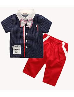 billige Tøjsæt til drenge-Drenge Tøjsæt Daglig Sport I-byen-tøj Ferie Skole Ensfarvet Galakse Trykt mønster, Bomuld Kort Ærme Simple Vintage Sødt Afslappet Aktiv