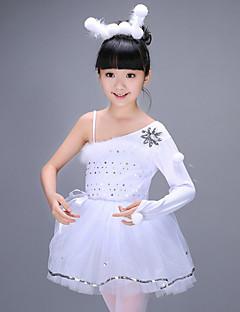 tanie Dziecięca odzież do tańca-Balet Suknie Dla dziewczynek Szkolenie Poliester Wzorek / Nadruk Cekiny Materiały łączone Długi rękaw Wysoki Ubierać