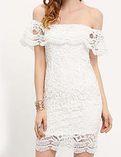 Χαμηλού Κόστους Πληροφορίες προϊόντος-Γυναικεία Πάρτι / Εξόδου Λεπτό Δαντέλα Φόρεμα - Συμπαγές Χρώμα, Δαντέλα Πάνω από το Γόνατο Ώμοι Έξω Άσπρο