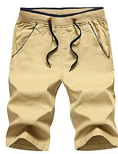 billige Herrebukser og -shorts-Herre Normal Gatemote Mikroelastisk Shorts Bukser, Naturlig Polyester Ensfarget Vår Sommer