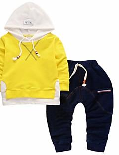 tanie Odzież dla chłopców-Komplet odzieży Bawełna Dla chłopców Codzienny Sport Jendolity kolor Wiosna Jesień Długi rękaw Niebieski Black Yellow
