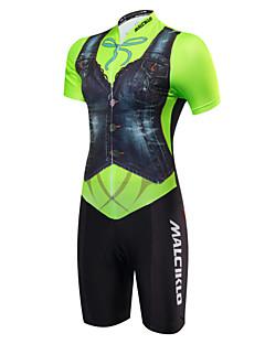 billige Sykkelklær-Malciklo Dame Kortermet Triathlondrakt - Grønn og Svart Britisk Sykkel Anatomisk design, Pustende, Svettereduserende, Refleksbånd, Sommer