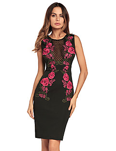 cheap Women's Dresses-Women's Vintage Bodycon Dress - Floral, Cut Out High Waist