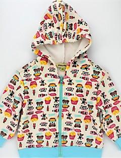 billige Hættetrøjer og sweatshirts til piger-Unisex Hættetrøje og sweatshirt Daglig Dyretryk Farveblok, Imiteret pels Bomuld Forår Efterår Langærmet Afslappet Aktiv Regnbue