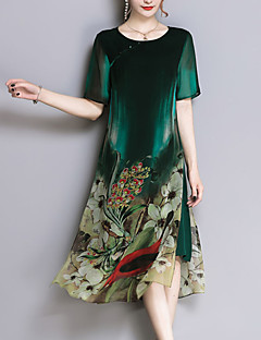 cheap Fashion & Jewelry-Women's Plus Size Going out Sophisticated Silk Loose Sheath Chiffon Dress - Floral, Print