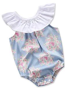 billige Babytøj-Baby Pige En del Daglig Blomstret, Bomuld Polyester Sommer Uden ærmer Simple Afslappet Lyseblå