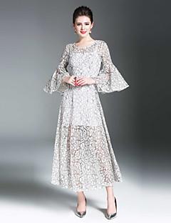 Χαμηλού Κόστους Art of Transparency-Γυναικεία Flare μανίκι Λεπτό Swing Φόρεμα - Συμπαγές Χρώμα, Δαντέλα