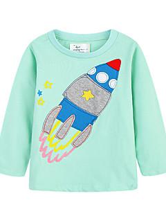 tanie Odzież dla dziewczynek-Bluzka Bawełna Len Włókno bambusowe Akryl Dla dziewczynek Codzienny Jendolity kolor Wiosna Długi rękaw Prosty Niebieski