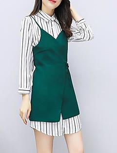 お買い得  レディースツーピースセット-女性用 ベーシック セット - パッチワーク, ソリッド ドレス