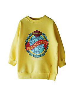 billige Hættetrøjer og sweatshirts til piger-Pige Hættetrøje og sweatshirt Daglig Ensfarvet, Bomuld Vinter Efterår Langærmet Simple Aktiv Rød Gul