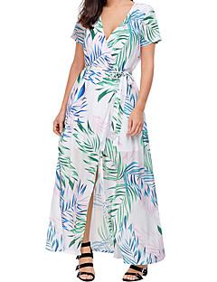 Χαμηλού Κόστους Boho Style-Γυναικεία Σέξι Θήκη Φόρεμα - Μονόχρωμο Φλοράλ, Σκίσιμο Μακρύ