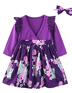 cheap Girls' Long Sleeves Dresses-Toddler Girls' Casual Daily Floral / Patchwork Lace / Cut Out / Bow Long Sleeve Cotton / Polyester Dress Purple / Cute / Print