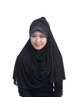 baratos Cachecóis da Moda-Mulheres Festa Raiom, Hijab - Com Miçangas Sólido