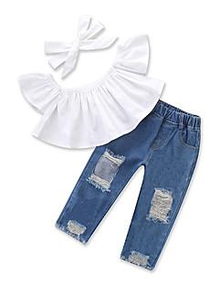 billige Tøjsæt til piger-Pige Tøjsæt Daglig I-byen-tøj Ensfarvet, Bomuld Polyester Sommer Kortærmet Afslappet Gade Hvid