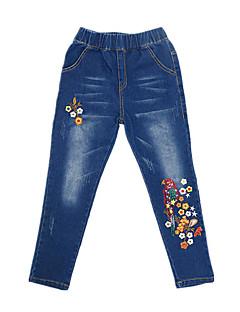 billige Bukser og leggings til piger-Pige Jeans Daglig Ensfarvet Trykt mønster, Bomuld Polyester Forår Efterår Uden ærmer Vintage Afslappet Blå