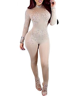 billige Jumpsuits og sparkebukser til damer-Dame Klubb Skinny Body - Ensfarget, Paljetter Netting Harem