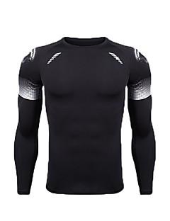 billiga Träning-, jogging- och yogakläder-Herr T-shirt för jogging - Svart, Svart / vit sporter Mode T-shirt / Träningsoverall Motion & Fitness Långärmad Sportkläder Mateial som andas Elastisk