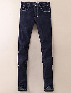 billige Herrebukser og -shorts-menns vanlige midterstige mikro elastiske jeans bukser, enkel solid bomull bambus fiber vinter