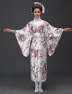 tanie Etniczne & Cultural Kostiumy-Cosplay Sukienki / Kimono Damskie Festiwal/Święto Kostiumy na Halloween Biały / niebieski / Czerwony Kwiatowy / roślinny Kimona