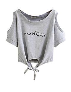 baratos Blusas Femininas-Mulheres Camiseta Básico Estampado,Letra