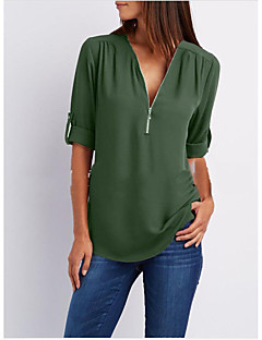 cheap -Women's Going out Basic Loose Blouse - Solid Colored V Neck