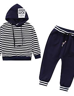billige Tøjsæt til drenge-Drenge Tøjsæt Daglig Stribet, Polyester Forår Langærmet Simple Blå Sort