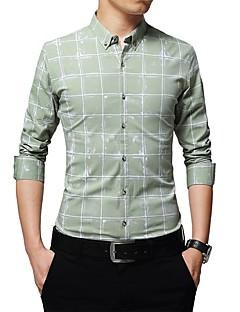 お買い得  メンズシャツ-男性用 プラスサイズ シャツ スリム チェック コットン