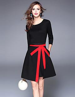 billige Minikjoler-Dame Vintage Gade A-linje Kjole - Farveblok, Patchwork Mini