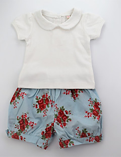 billige Tøjsæt til piger-Pige Tøjsæt Daglig Blomstret Farveblok, Bomuld Sommer Kortærmet Sødt Aktiv Hvid Orange