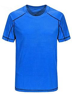 baratos Camisetas para Trilhas-Homens Camiseta de Trilha Ao ar livre Verão Leve, Secagem Rápida, Respirabilidade Camiseta Acampar e Caminhar, Multi-Esporte, Sertão Cinzento Escuro Verde Azul