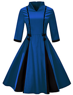 billige Vintage-dronning-Dame Plusstørrelser Ferie / I-byen-tøj Vintage Tynd Skede Kjole - Farveblok, Sløjfer Knælang V-hals