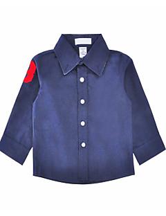 billige Overdele til drenge-Drenge Skjorte Daglig Ferie Ensfarvet, Bomuld Polyester Forår Efterår Langærmet Simple Navyblå