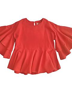 billige Pigetoppe-Pige T-shirt Daglig Ensfarvet, Bomuld Sommer Langærmet Simple Brun Rød
