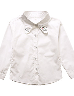billige Pigetoppe-Pige Skjorte Daglig Ensfarvet Trykt mønster, Bomuld Forår Efterår Langærmet Simple Sødt Hvid